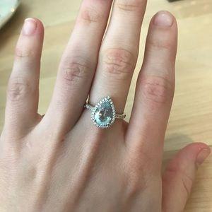 Jewelry - Aquamarine Estate Ring with Diamond Halo